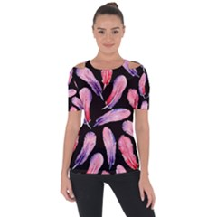 Watercolor Pattern With Feathers Short Sleeve Top