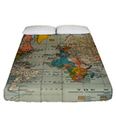 Vintage World Map Fitted Sheet (california King Size)