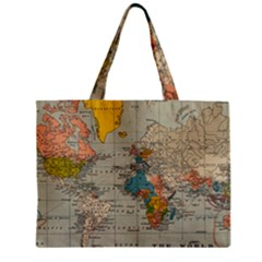 Vintage World Map Zipper Mini Tote Bag by BangZart