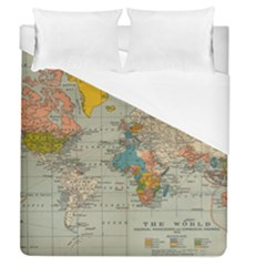 Vintage World Map Duvet Cover (queen Size) by BangZart