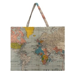 Vintage World Map Zipper Large Tote Bag by BangZart