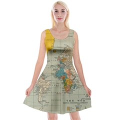 Vintage World Map Reversible Velvet Sleeveless Dress