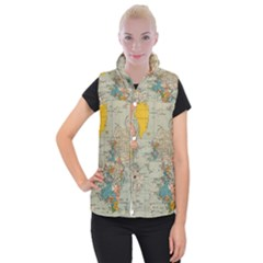 Vintage World Map Women s Button Up Puffer Vest