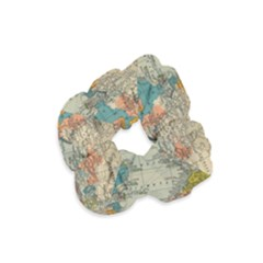 Vintage World Map Velvet Scrunchie