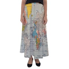 Vintage World Map Flared Maxi Skirt