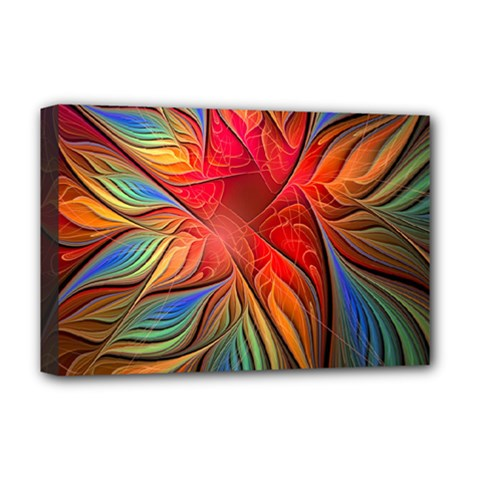 Vintage Colors Flower Petals Spiral Abstract Deluxe Canvas 18  X 12   by BangZart