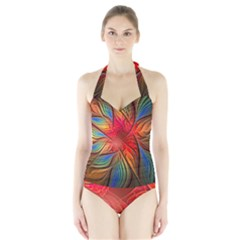 Vintage Colors Flower Petals Spiral Abstract Halter Swimsuit