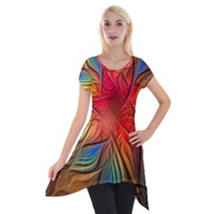 Vintage Colors Flower Petals Spiral Abstract Short Sleeve Side Drop Tunic