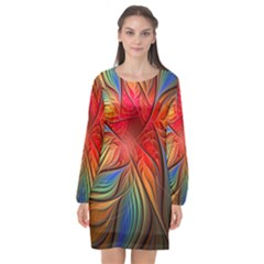 Vintage Colors Flower Petals Spiral Abstract Long Sleeve Chiffon Shift Dress