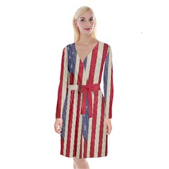 Usa Flag Long Sleeve Velvet Front Wrap Dress by BangZart