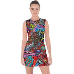 Vector Art Pattern Lace Up Front Bodycon Dress