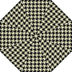Houndstooth2 Black Marble & Beige Linen Golf Umbrellas by trendistuff
