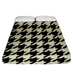 Houndstooth2 Black Marble & Beige Linen Fitted Sheet (queen Size)