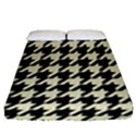 HOUNDSTOOTH2 BLACK MARBLE & BEIGE LINEN Fitted Sheet (Queen Size) View1