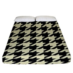 Houndstooth2 Black Marble & Beige Linen Fitted Sheet (king Size)