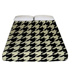 Houndstooth2 Black Marble & Beige Linen Fitted Sheet (california King Size) by trendistuff