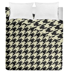 Houndstooth2 Black Marble & Beige Linen Duvet Cover Double Side (queen Size) by trendistuff