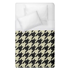 Houndstooth2 Black Marble & Beige Linen Duvet Cover (single Size) by trendistuff