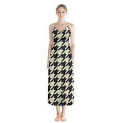 Houndstooth2 Black Marble & Beige Linen Button Up Chiffon Maxi Dress by trendistuff