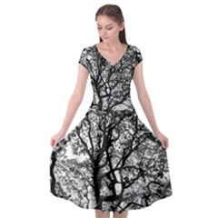 Tree Fractal Cap Sleeve Wrap Front Dress