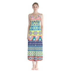 Tribal Print Button Up Chiffon Maxi Dress by BangZart