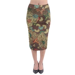 Traditional Batik Art Pattern Midi Pencil Skirt