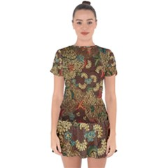 Traditional Batik Art Pattern Drop Hem Mini Chiffon Dress by BangZart