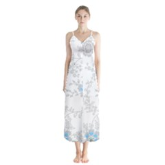 Traditional Art Batik Flower Pattern Button Up Chiffon Maxi Dress