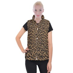 Tiger Skin Art Pattern Women s Button Up Puffer Vest