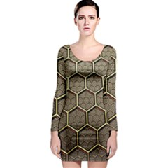Texture Hexagon Pattern Long Sleeve Bodycon Dress by BangZart