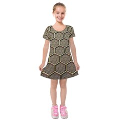 Texture Hexagon Pattern Kids  Short Sleeve Velvet Dress