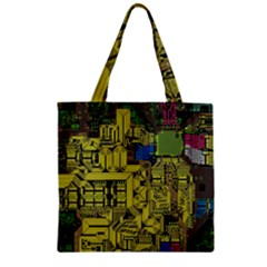 Technology Circuit Board Zipper Grocery Tote Bag by BangZart