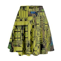 Technology Circuit Board High Waist Skirt