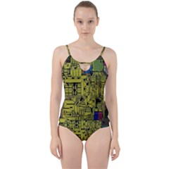 Technology Circuit Board Cut Out Top Tankini Set
