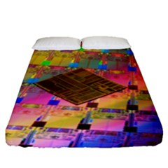 Technology Circuit Pentium Die Fitted Sheet (queen Size) by BangZart