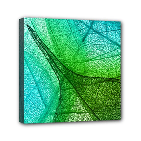 Sunlight Filtering Through Transparent Leaves Green Blue Mini Canvas 6  X 6  by BangZart