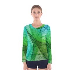 Sunlight Filtering Through Transparent Leaves Green Blue Women s Long Sleeve Tee by BangZart