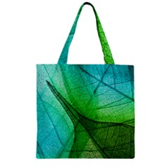 Sunlight Filtering Through Transparent Leaves Green Blue Zipper Grocery Tote Bag
