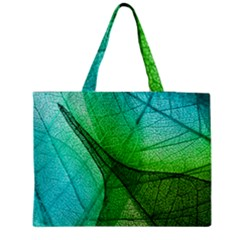Sunlight Filtering Through Transparent Leaves Green Blue Medium Zipper Tote Bag by BangZart