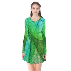 Sunlight Filtering Through Transparent Leaves Green Blue Flare Dress