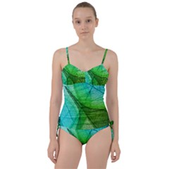 Sunlight Filtering Through Transparent Leaves Green Blue Sweetheart Tankini Set by BangZart