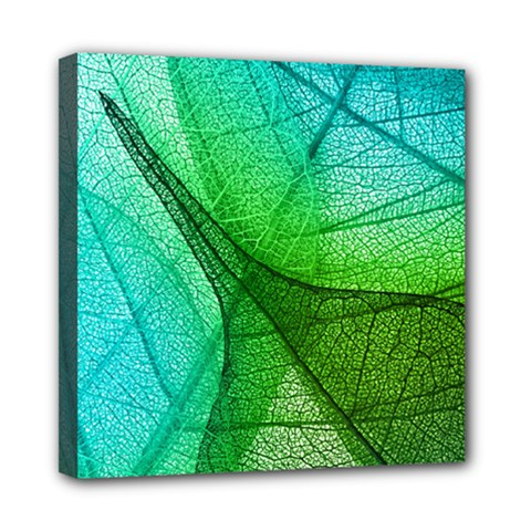 Sunlight Filtering Through Transparent Leaves Green Blue Mini Canvas 8  X 8  by BangZart