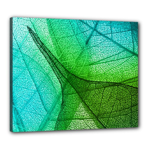 Sunlight Filtering Through Transparent Leaves Green Blue Canvas 24  X 20