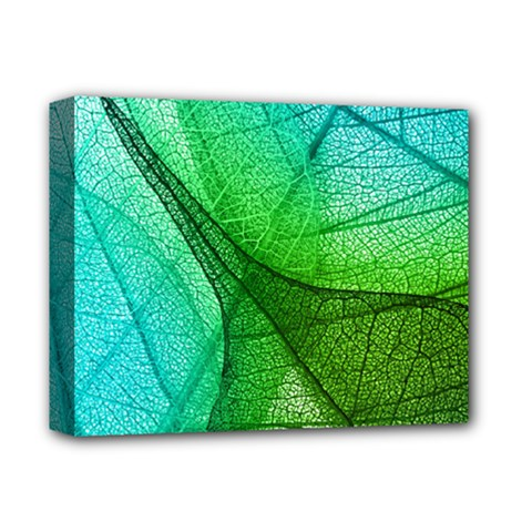 Sunlight Filtering Through Transparent Leaves Green Blue Deluxe Canvas 14  X 11  by BangZart