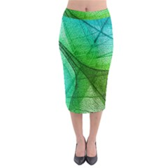 Sunlight Filtering Through Transparent Leaves Green Blue Midi Pencil Skirt by BangZart