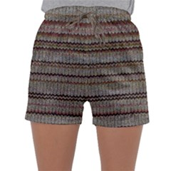 Stripy Knitted Wool Fabric Texture Sleepwear Shorts