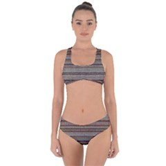 Stripy Knitted Wool Fabric Texture Criss Cross Bikini Set by BangZart
