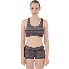 Stripy Knitted Wool Fabric Texture Work It Out Sports Bra Set