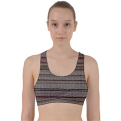 Stripy Knitted Wool Fabric Texture Back Weave Sports Bra