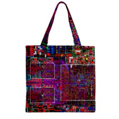 Technology Circuit Board Layout Pattern Zipper Grocery Tote Bag by BangZart
